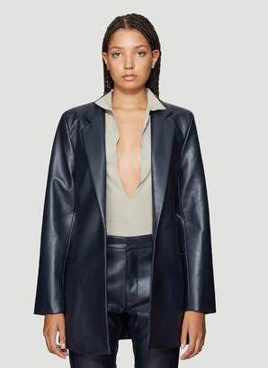 Roni Ilan Faux Leather Jacket with Belt in Navy