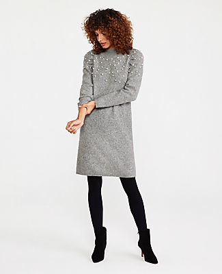Ann Taylor Tall Pearlized Mock Neck Sweater Dress