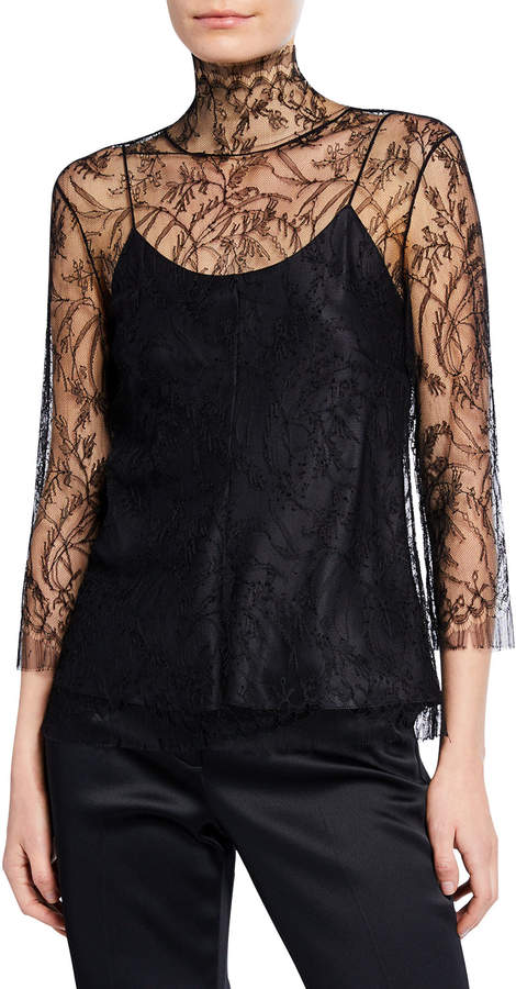 ADAM by Adam Lippes 3/4-Sleeve Chantilly Lace Turtleneck Blouse with Cami