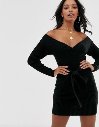 Bardot ASOS DESIGN wrap front mini dress with belt