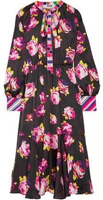 MSGM Pussy-bow Floral-print Satin Midi Dress