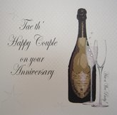 KitchenCenter White Cotton Cards Tae th' Happy Couple on Your Anniversary Champagne and Flutes Handmade Scottish Card