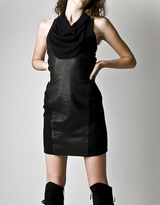 Black Knit And Leather Dress