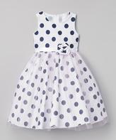 Navy Polka Dot A-Line Dress - Infant Toddler & Girls