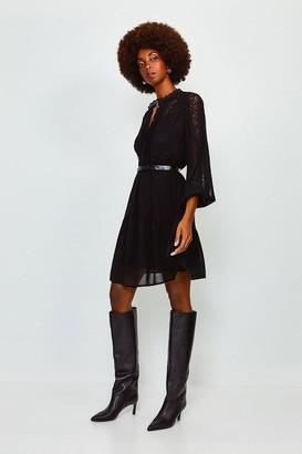 Karen Millen Lace Trim Belted Dress
