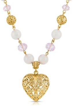 2028 Semi-Precious Rose Quartz Filigree Heart Pendant Necklace
