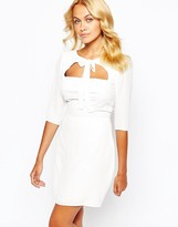 Love Bow Front Skater Dress With Open Bodice Detail