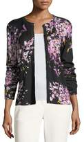 Escada Floral-Print Wool/Silk Cardigan
