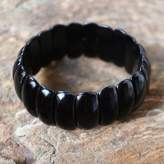 Black Onyx Beaded Stretch Bracelet from Thailand, 'Flawless Elegance'