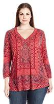Lucky Brand Women's Plus Size Border Print Top