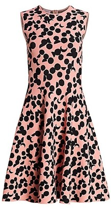 Akris Punto Luna Dot Print Knit Fit-&-Flare Dress