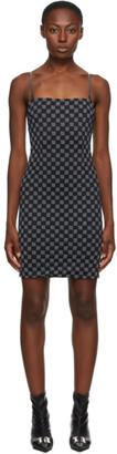 Misbhv Black Reflective Monogram Short Dress