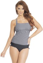Hot From Hollywood Women's Open Back Tankini Ruffle High Waisted Bottoms Two Piece Swimsuit Set