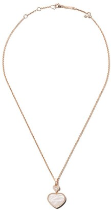 Chopard 18kt rose gold Happy Hearts mother-of-pearl and diamond pendant necklace