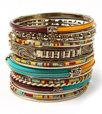 Amrita Singh Women's Bracelets Turq/Ruby/Yellow - Teal & Yellow Monte Carlo Bangle Set