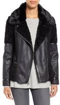 Vince Camuto Women's Mixed Media Faux Shearling Moto Jacket