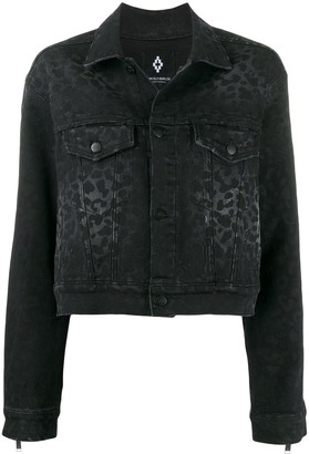Marcelo Burlon County of Milan Rinse Wash Leopard Print Denim Jacket