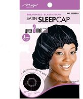 """Satin Sleeping Cap, 23"""" JUMBO XL X-Large BLACK Breathable and Comfortable Material, Elastic Band, Accommodate Large Hair Curlers and Rollers, Keeps Hair Styles in Place and Silky Satin Material to Help to Prevent Hair Breakage"""