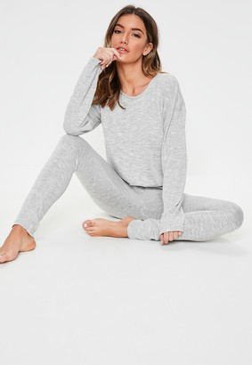 Missguided Grey Soft Knit Long Sleeve Loungewear Tracksuit