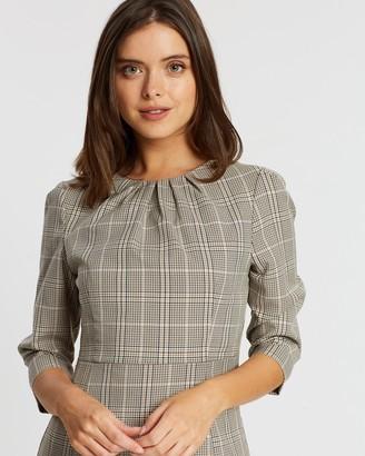 Dp Petite Checked 3/4 Sleeve Pencil Dress