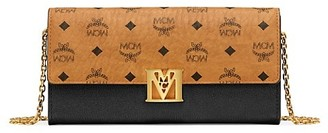 MCM Mena Visetos Leather Block Flap Wallet On Chain