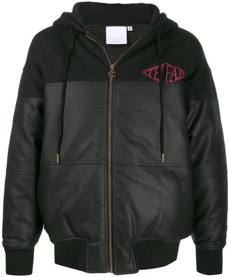 Telfar Leather Look Panelled Zip Hoodie