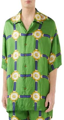 Gucci GG Harness Print Bowling Shirt