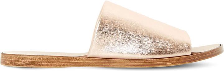 Dune Leny metallic-leather mules