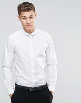 Asos Regular Fit Smart Shirt With Curve Collar And Long Sleeves In White
