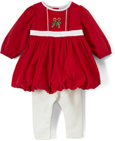Red & off White Bow Bubble Dress & Leggings - Infant