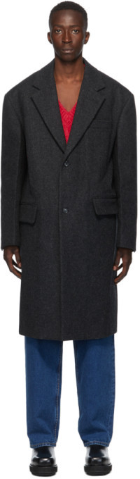 we11done Grey Felted Wool Long Coat