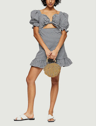Topshop Gingham-print stretch-woven mini dress