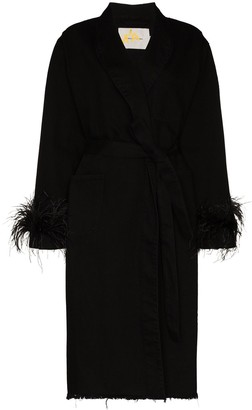 Marques Almeida Feather-Trim Wrap Coat