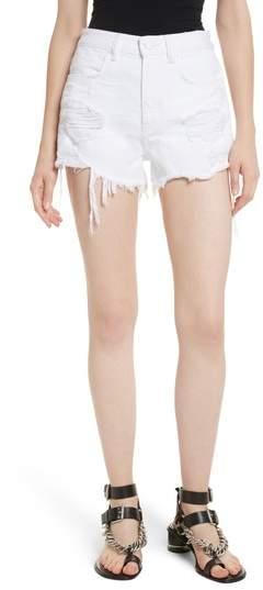 Alexander Wang Bite White Ripped Denim Shorts