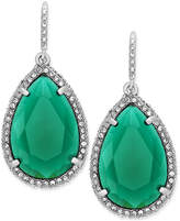 ABS by Allen Schwartz Earrings, Silver-Tone Green Stone Pave Crystal Teardrop Earrings
