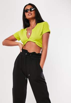 Missguided Neon Lime Short Sleeve V Neck Crop Top
