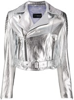 Manokhi London metallic biker jacket