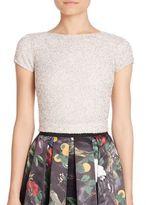 Alice + Olivia Kelli Embellished Short Sleeve Top