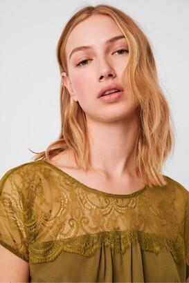 French Connection Aleda Crepe Lace Detail V Back Top