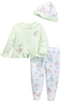 Little Me Botanical Cardigan, Footed Legging, & Hat Set (Baby Girls)
