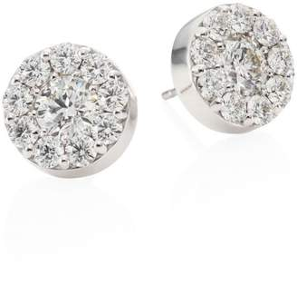 Hearts On Fire Diamond & 18K White Gold Button Stud Earrings