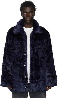 Landlord Navy Faux-Fur Jacket