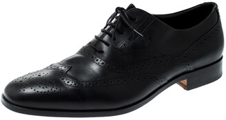 Tod's Black Brogue Leather Lace Up Oxford Size 44