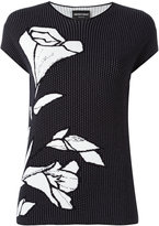 Emporio Armani floral embroidery T-shirt - women - Polyamide/Viscose - 38