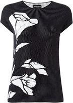 Emporio Armani floral embroidery T-shirt - women - Polyamide/Viscose - 38