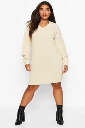 boohoo Plus V-Neck Knitted Jumper Dress
