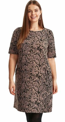 Evan Crocodile Snake Animal Print Tunic Loose Fit Short Sleeve Dress