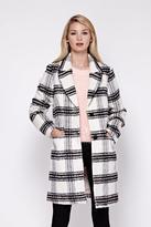 Yumi Single Breasted Check Print Coat Grey