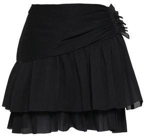 Zimmermann Wrap-effect Plisse-woven Mini Skirt