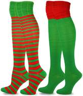 TeeHee Socks TeeHee Christmas and Holiday Fun Over the Knee High Socks for Women 2-Pack